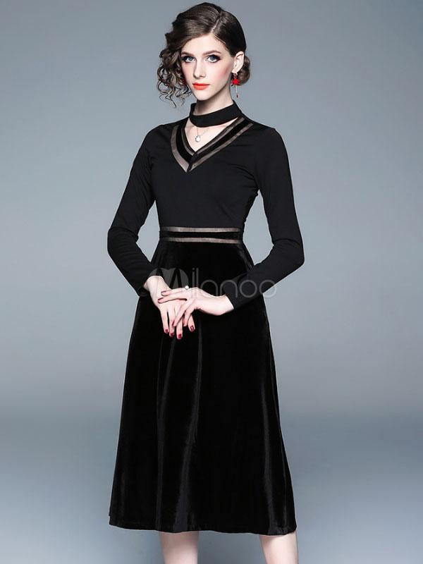 bdd6361e55fd Маленькое черное платье с длинным рукавом велюровое платье Вечернее платье  с ...