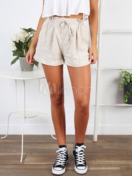d1737328eab12 Saco De Papel Shorts Mulheres Atadas Elástico Na Cintura De Algodão De  Linho Shorts-No ...