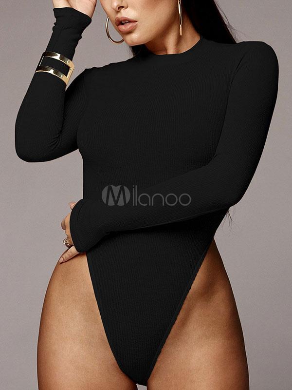 99417f3f5b Women Sexy Bodysuit Long Sleeve Crewneck High Leg Cut Knit Bodysuit-No.1 ...