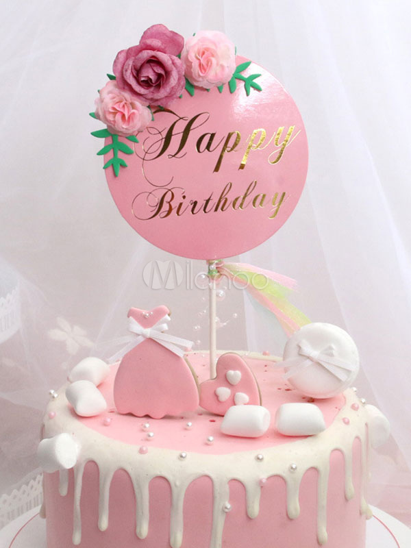Surprising Cake Toppers Happy Birthday Pink Flowers Party Decorations Personalised Birthday Cards Paralily Jamesorg
