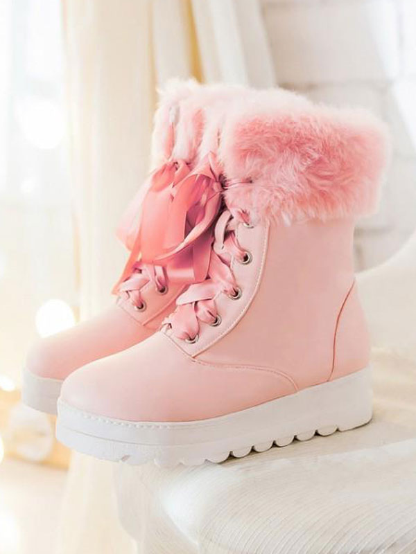 Botas clásicas de lolita con cordones y zapatos peludos de felpa lol pu-No. ba4d85d9e4d5