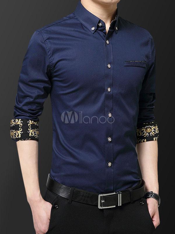 703a511280f Men Formal Shirt Floral Print Plus Size Slim Fit Long Sleeve Dress Shirt-No.