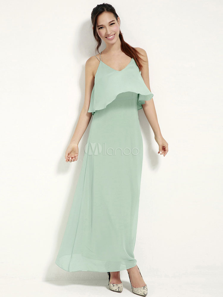 Buy Mint Green Straps Backless Chiffon Maxi Dress for $62.99 in Milanoo store