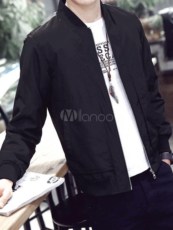 Men's Cotton Jacket Pockets Casual Slim Fit Windbreaker Jacket In Black/Deep Blue/Gray/Royal Blue