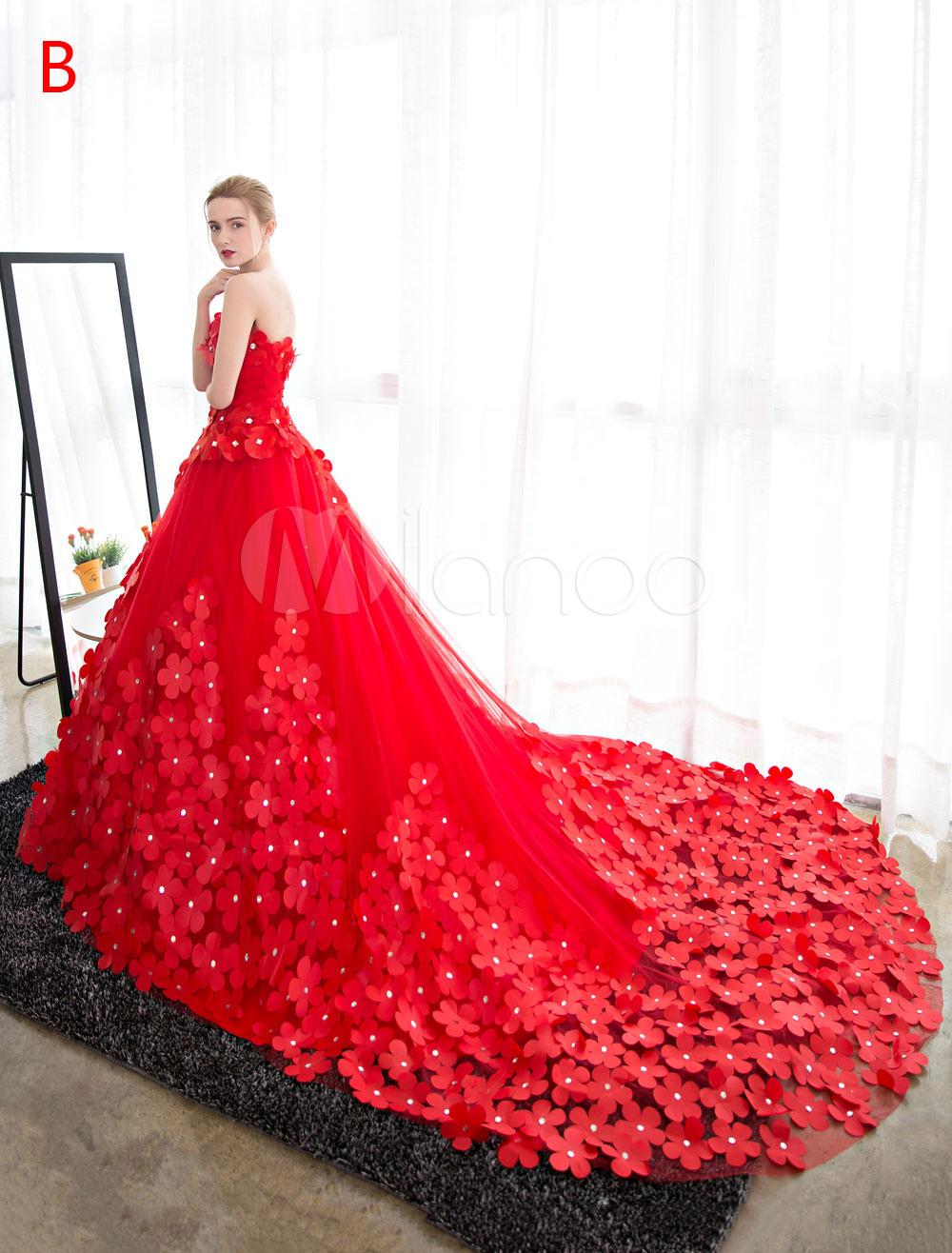 Robe De Mariee Princesse Bustier En Tulle Robe De Mariee Strass Perles Fleur Avec Traine Rouge