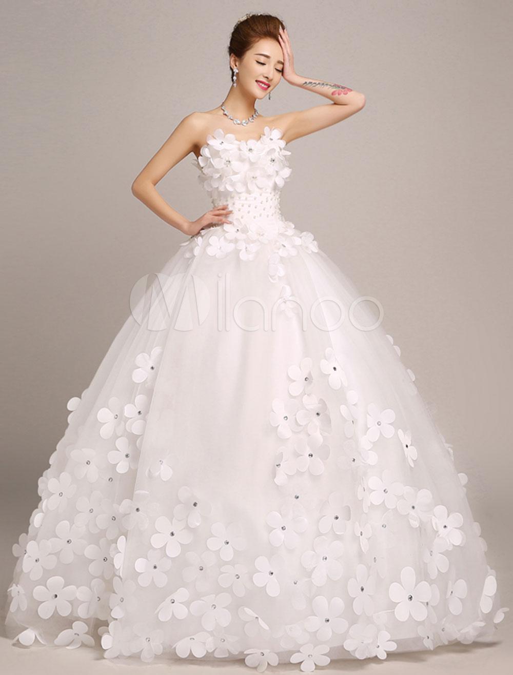Ivory Wedding Dresses Princess Ball Gowns Bridal Dress 3D Flowers ...