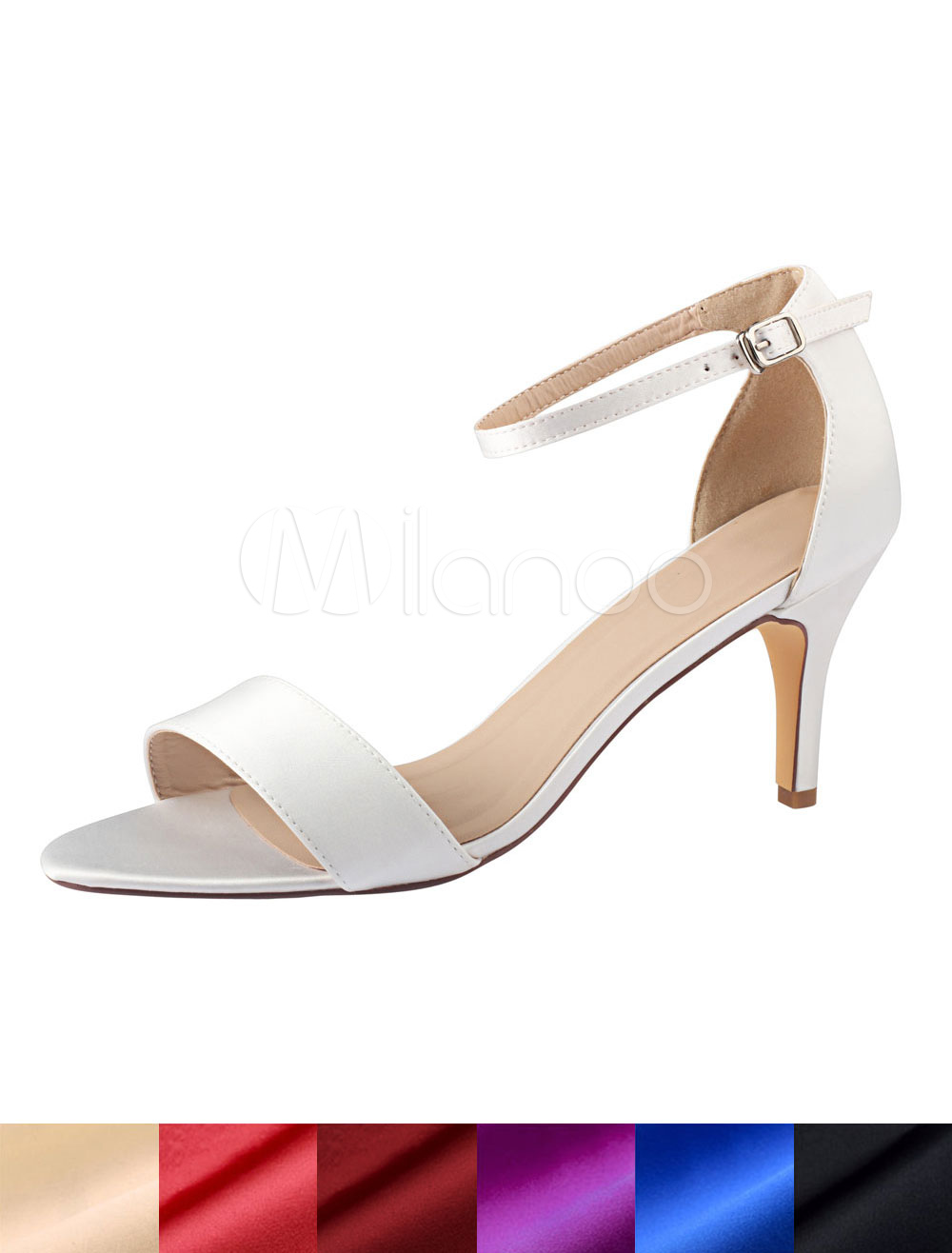 Buy Ivory Wedding Shoes Silk Open Toe Ankle Strap Bridal Shoes High Heel Sandals for $49.99 in Milanoo store