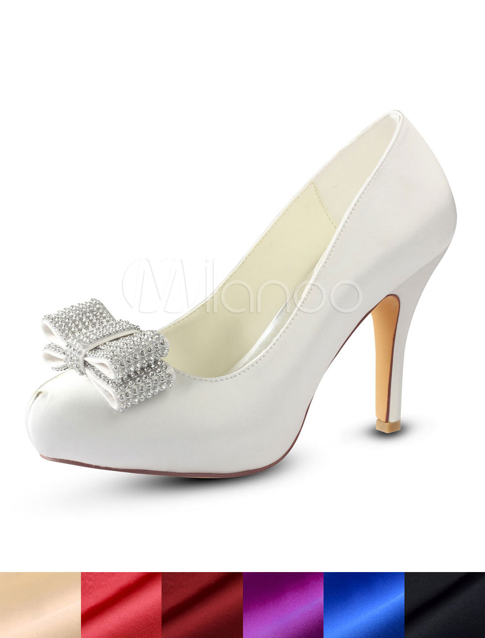 Buy Ivory Wedding Shoes Silk Rhinestones Bow Slip On Pumps High Heel Bridal Shoes for $57.59 in Milanoo store