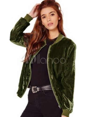 acquisto economico eab93 41a10 Rosa manica lunga Casual Giacche corte con Zip di velluto giacca donna