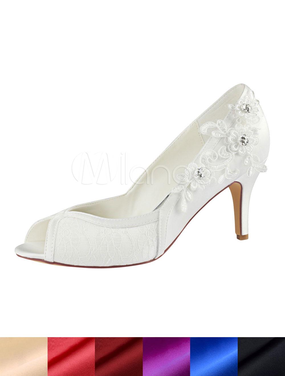 Wedding Shoes Ivory Peep Toe Lace Flowers Beaded Slip On Bridal Shoes High Heels
