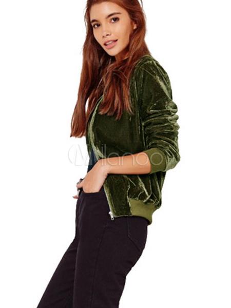 purchase cheap e52d9 9070e Rosa manica lunga Casual Giacche corte con Zip di velluto giacca donna