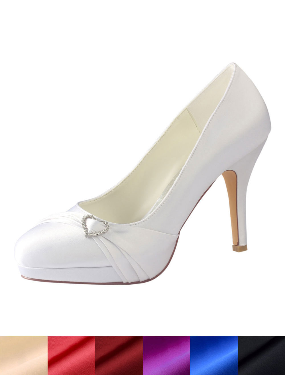 White Wedding Shoes Round Toe Rhinestones Bridal Shoes Silk High Heels