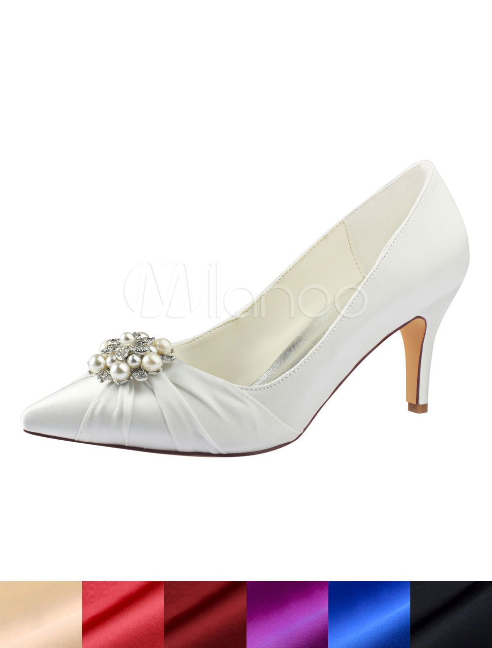 c438a68ae0f Ivory Wedding Shoes Silk Pointed Toe Pearls Rhinestones High Heel Bridal  Shoes