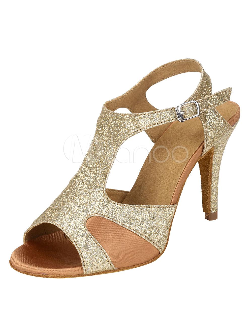 Zapatos de bailes latinos Tela-brillantes de tacón de stiletto para baile de punter Peep Toe dgOxUwK1W