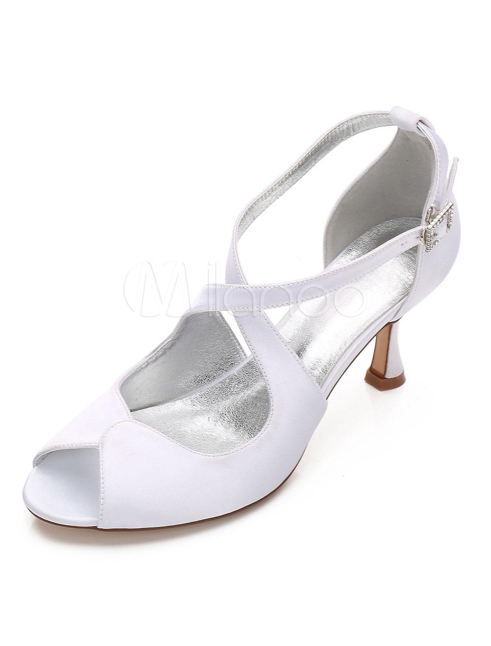Zapatos Tacón bobina de punter Peep Toe de seda y satén elegantes Fiesta de bodas VZFH8