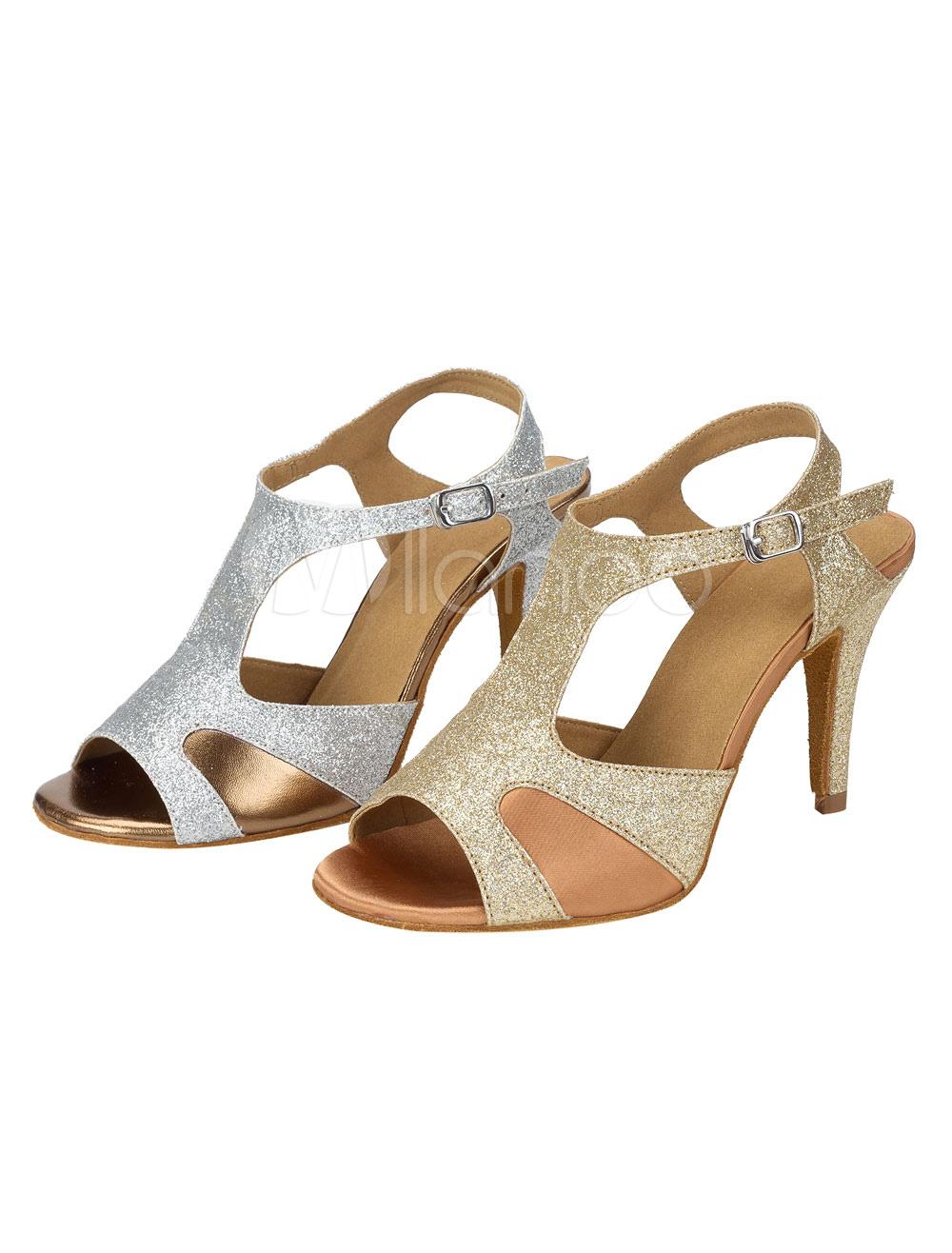 Zapatos de bailes latinos Tela-brillantes de tacón de stiletto para baile de punter Peep Toe hO538E5nUD