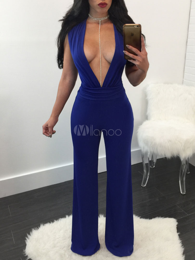 Buy Blue Sexy Jumpsuit Women's Plunging Neck Sleeveless Wide Leg Long Jumpsuits for $23.74 in Milanoo store