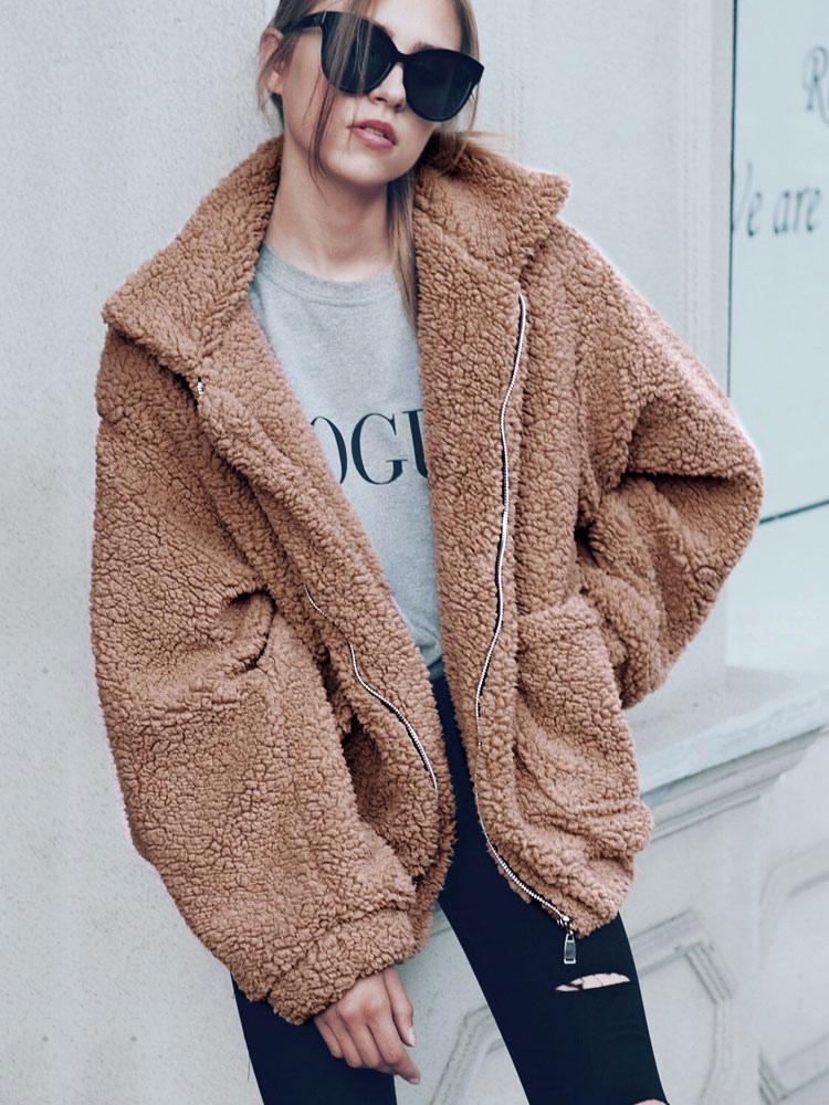 peluche manteau en fausse fourrure de laine manches longues en peau de mouton manteau d 39 hiver. Black Bedroom Furniture Sets. Home Design Ideas