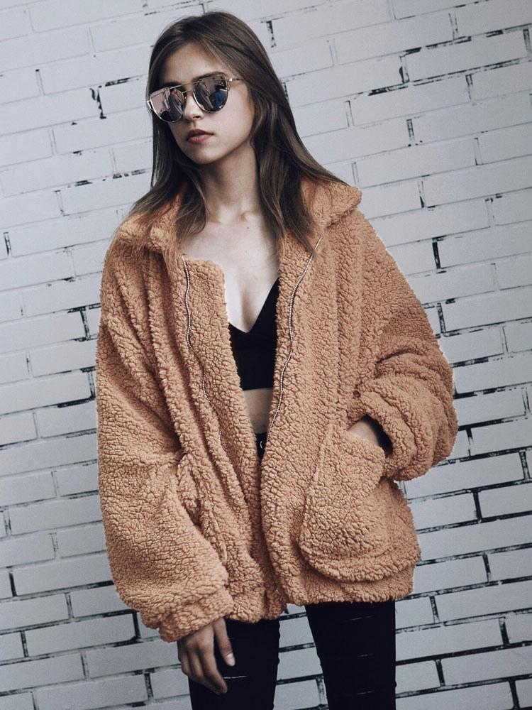 100% quality quarantee newest superior performance Teddy Bear Coat Faux Fur Jacket Wool Long Sleeve Shearling Jacket Light Tan  Winter Coat For Women