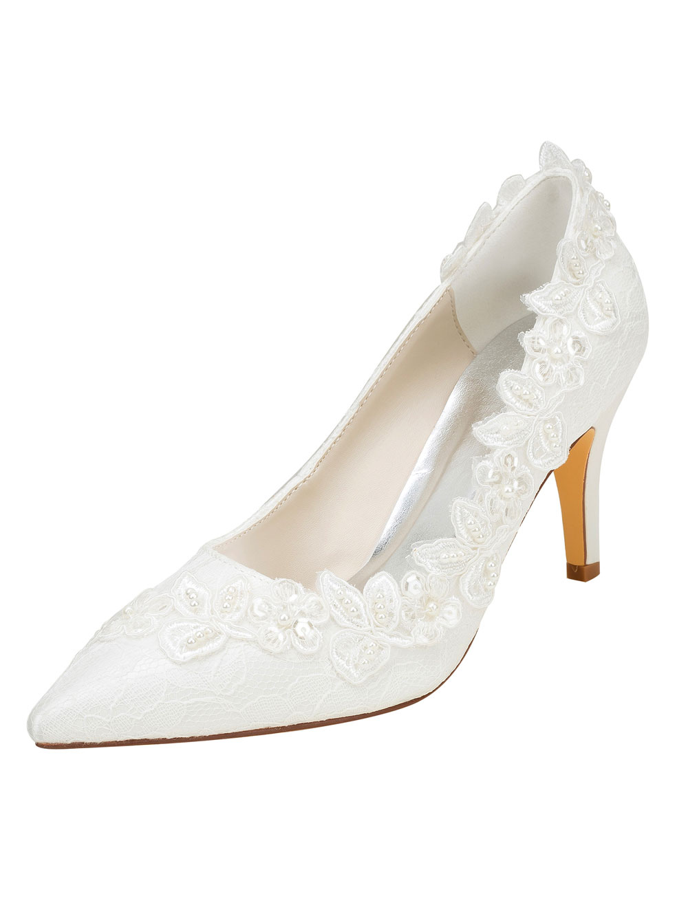 Buy Ivory Wedding Shoes High Heel Lace Pointed Toe Flowers Slip On Pumps for $54.99 in Milanoo store