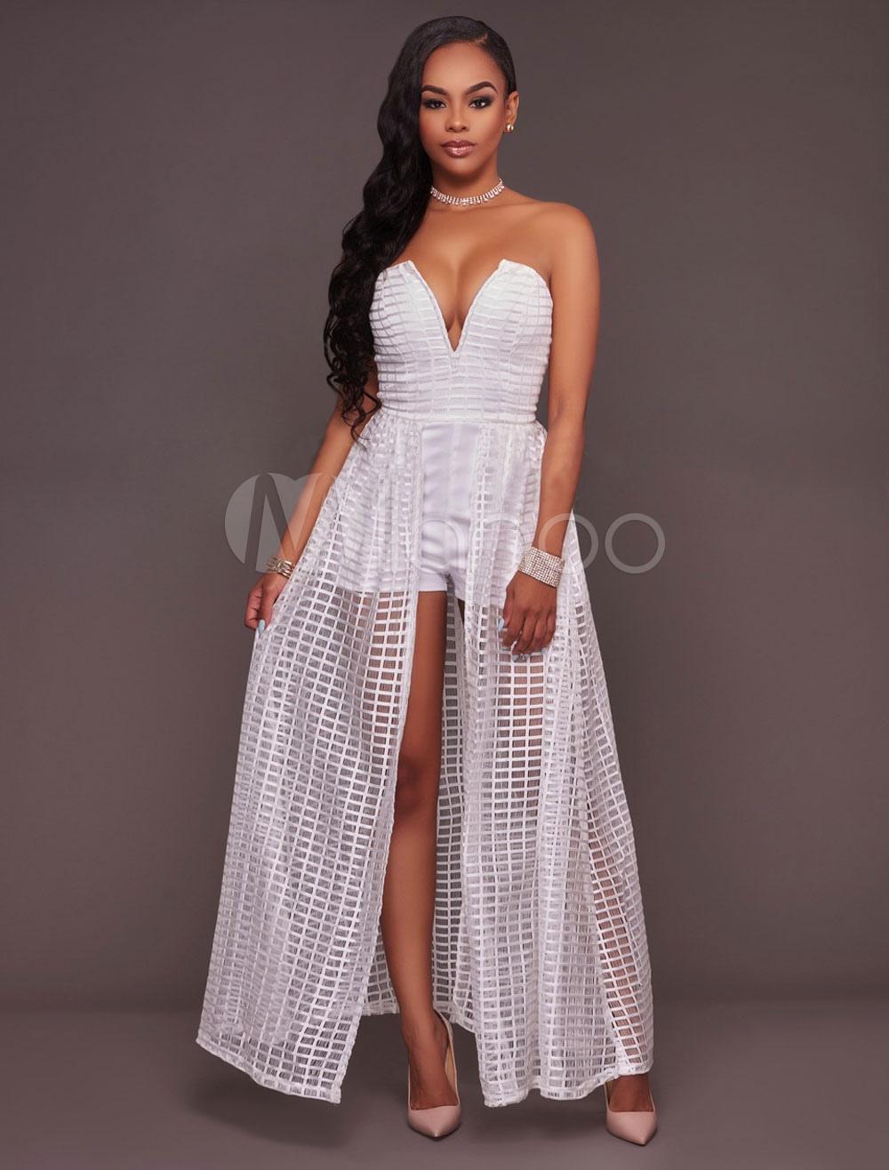 Women's White Romper Strapless Sweetheart Fake Two Piece Style Chic Skort Dress