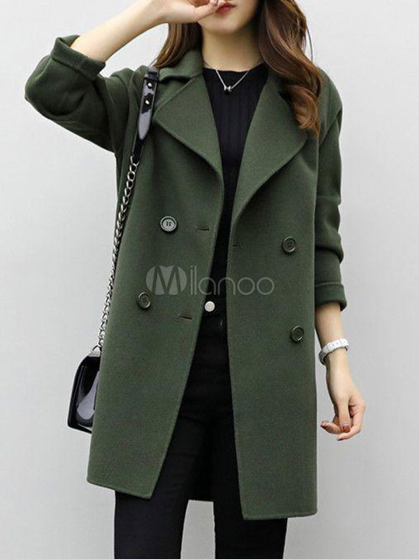 Women Pea Coat Notch Collar Long Sleeve Hunter Green Winter Coat