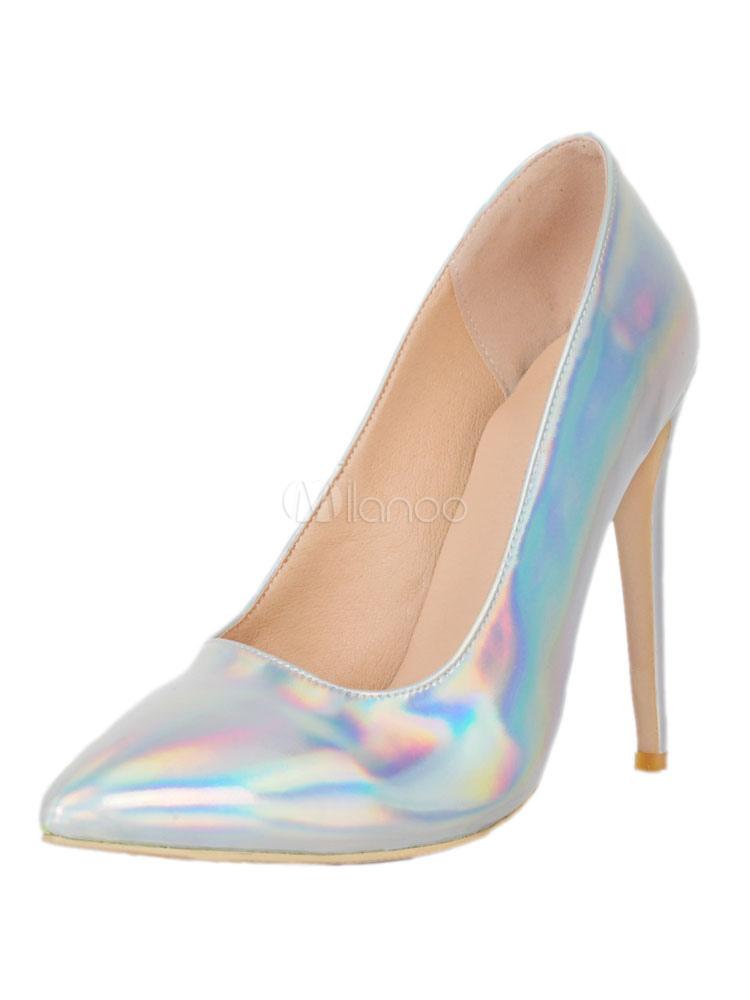 Zapatos de tacones 2018 de puntera puntiaguada Charol PU Color liso de tacón de stiletto 0cBg9XwCAP