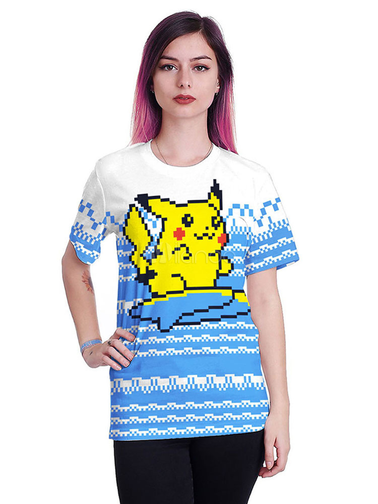 2fb98666 Pokemon Pikachu Anime Pixel Print Short Sleeve T Shirt Halloween-No.1 ...
