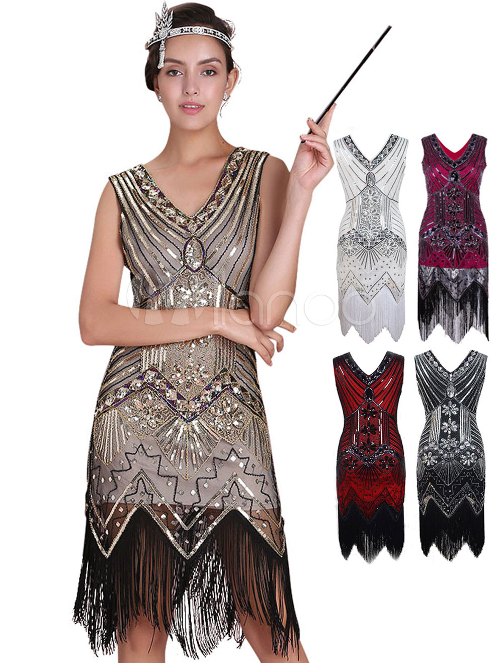 Great Gatsby Flapper Dress 1920s Vintage Costume Womenu0027s Apricot Sequined Tassels Dress Halloween-No.  sc 1 st  Milanoo.com : halloween costumes gatsby  - Germanpascual.Com