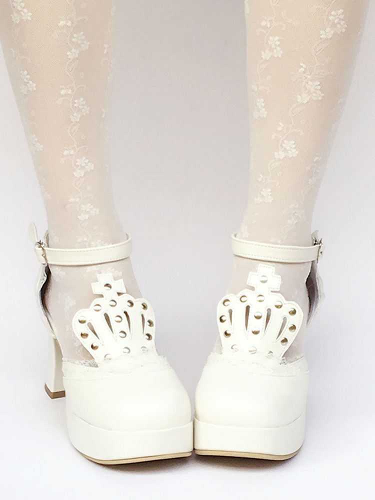 Buy White Lolita Shoes T Strap Chunky Heel Platform Stud Lovely Lolita Pumps Shoes for $70.19 in Milanoo store