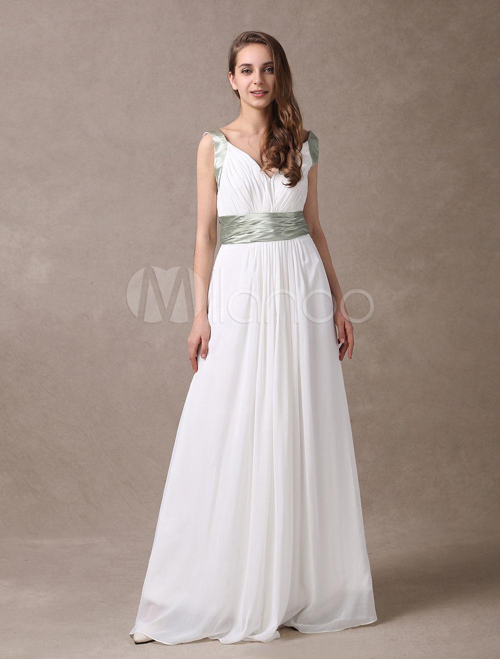 Buy Attractive Ivory Chiffon Deep V-neck Maternity Bridesmaid Dress for $129.99 in Milanoo store