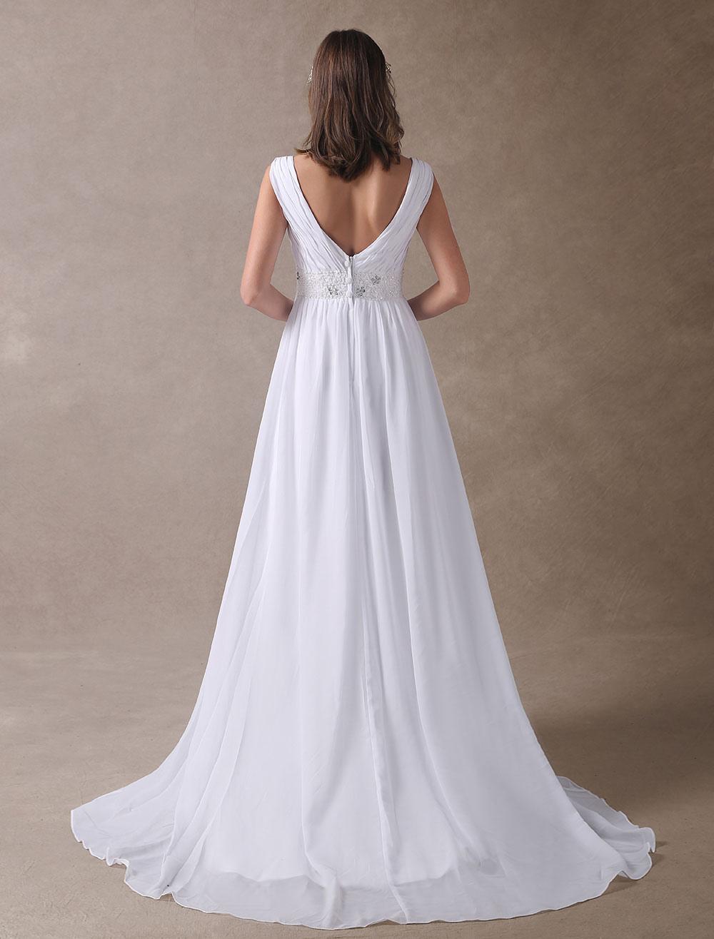 ad36fe5a4ec1 Summer Wedding Dresses White Empire Waist V Neck Beaded Chiffon Beach  Bridal Gowns-No.