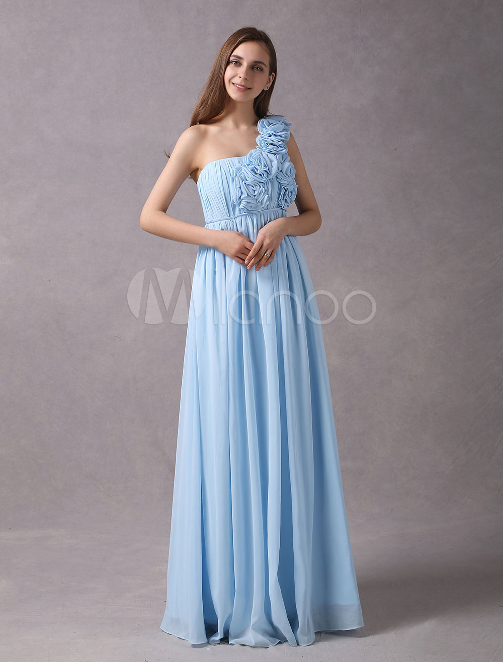 A-line Sage Chiffon Maternity Bridesmaid Dress with One-Shoulder ...