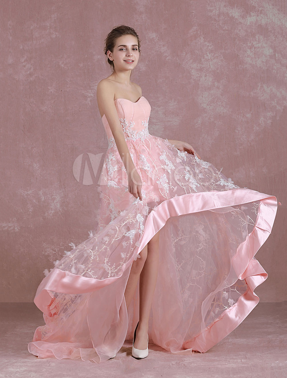vestidos de gala Rosado ligero con escote en corazón sin mangas con ...