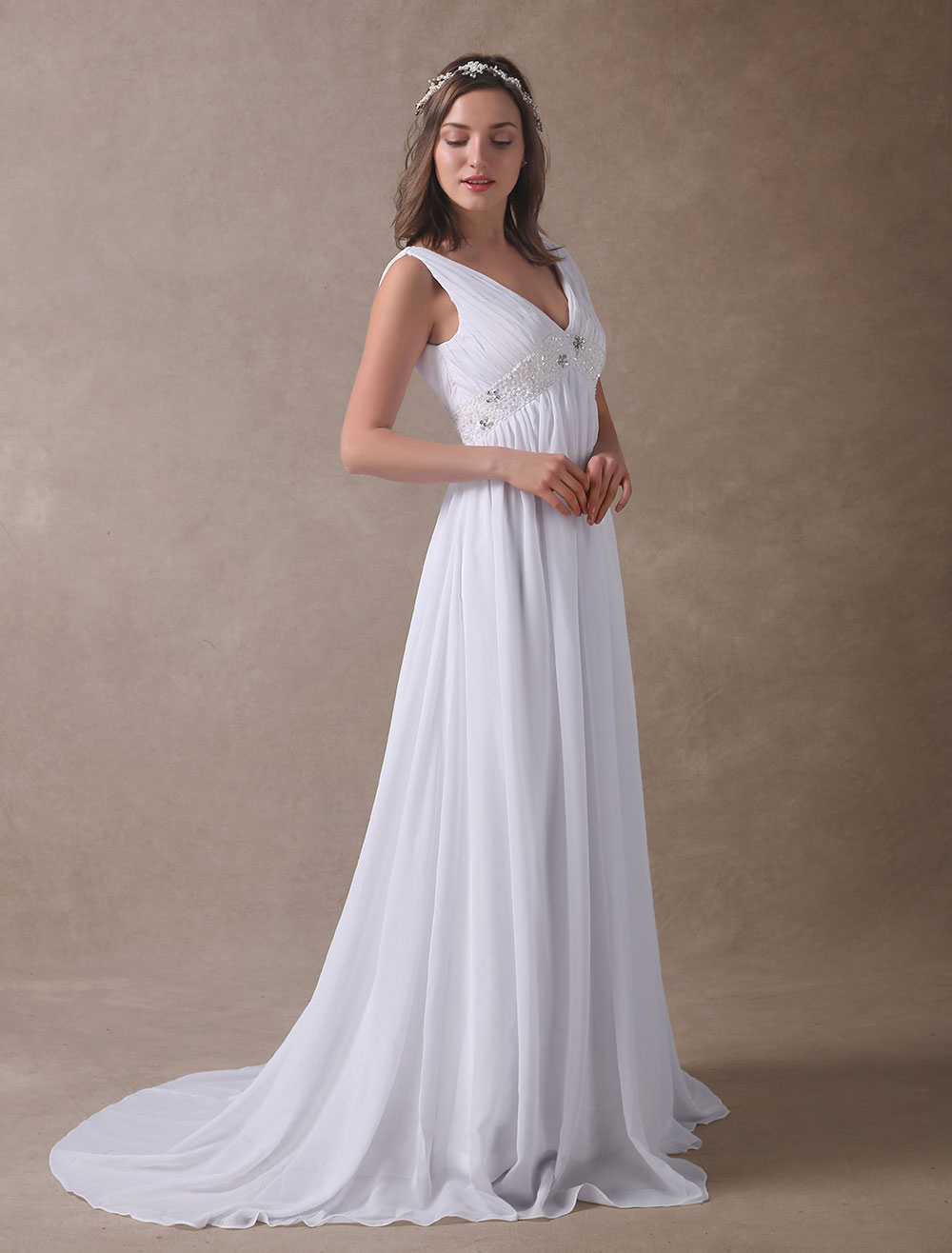 Beaded Empire Waist Wedding Dress