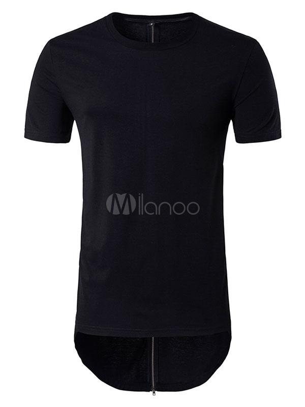 Men's White T Shirts Zip Longline Short Sleeve Back Zipper Summer Tee Shirt Tops