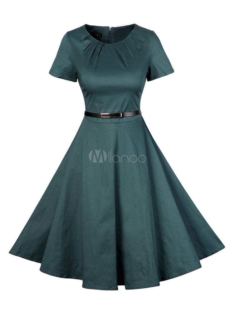 Buy Women's Vintage Dress Atrovirens Round Neck Short Sleeve Pleated Skater Dress for $33.24 in Milanoo store