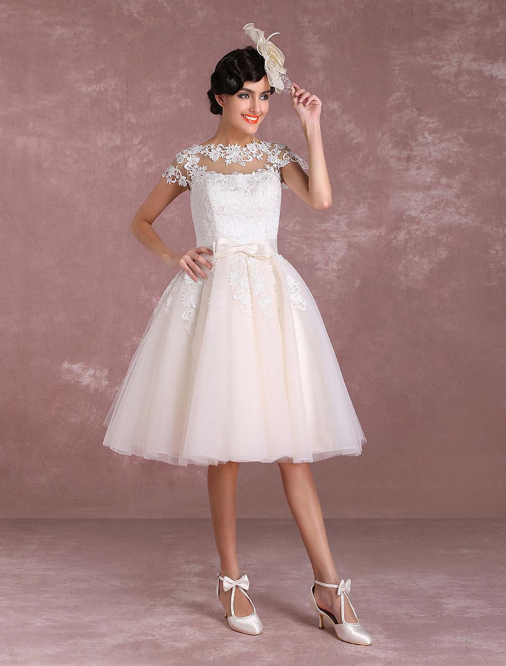 Vintage Wedding Dresses Short Lace Applique Bridal Gown Illusion Bow ...