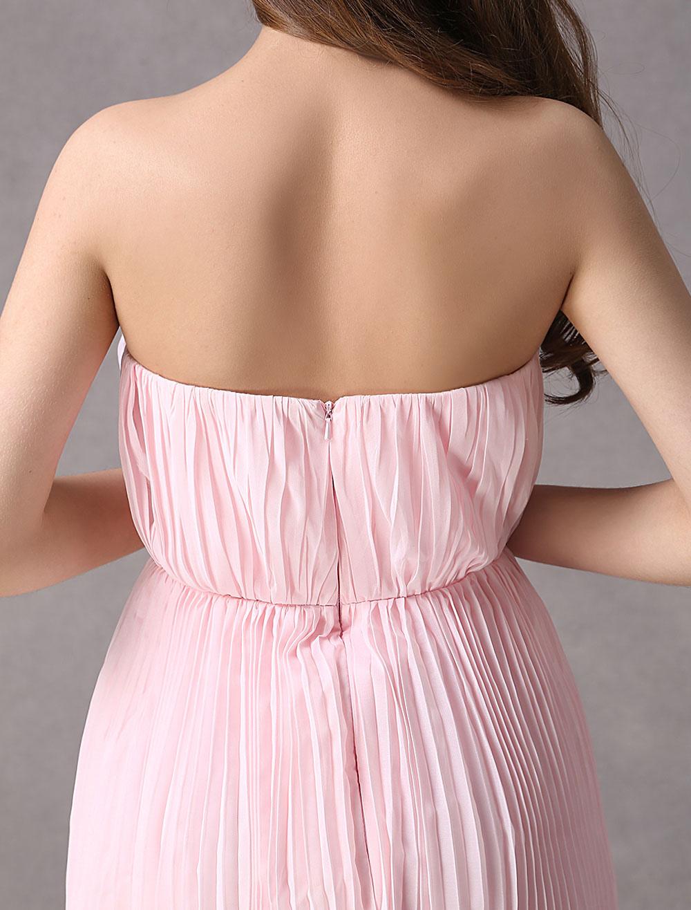 Vestido damas rosa de gasa ajustado sin tirantes hasta la rodilla ...