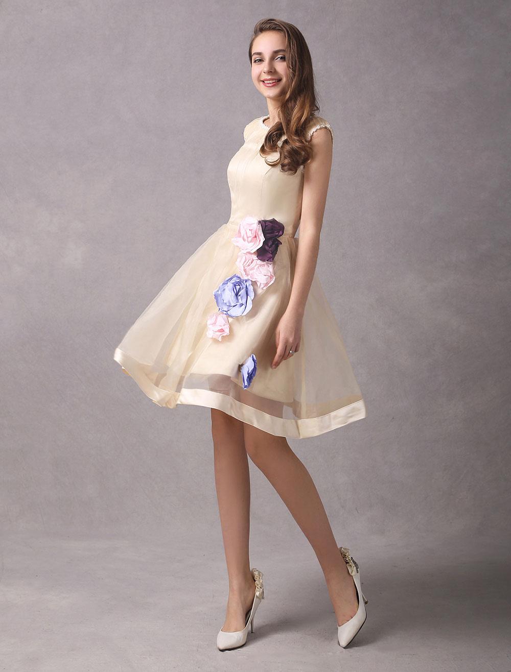 Short Wedding Dresses Champagne Organza Bridal Dress Flowers ...