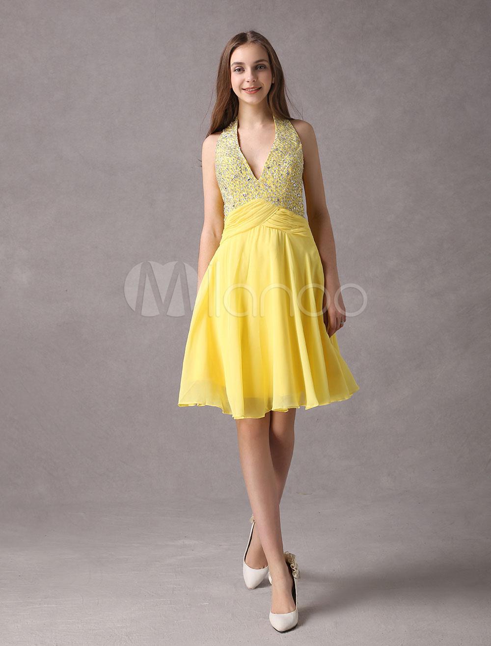 0aa387bf3 Vestido de fiesta amarillo vestido de fiesta corto de gasa con cuello en V  rebordear V ...