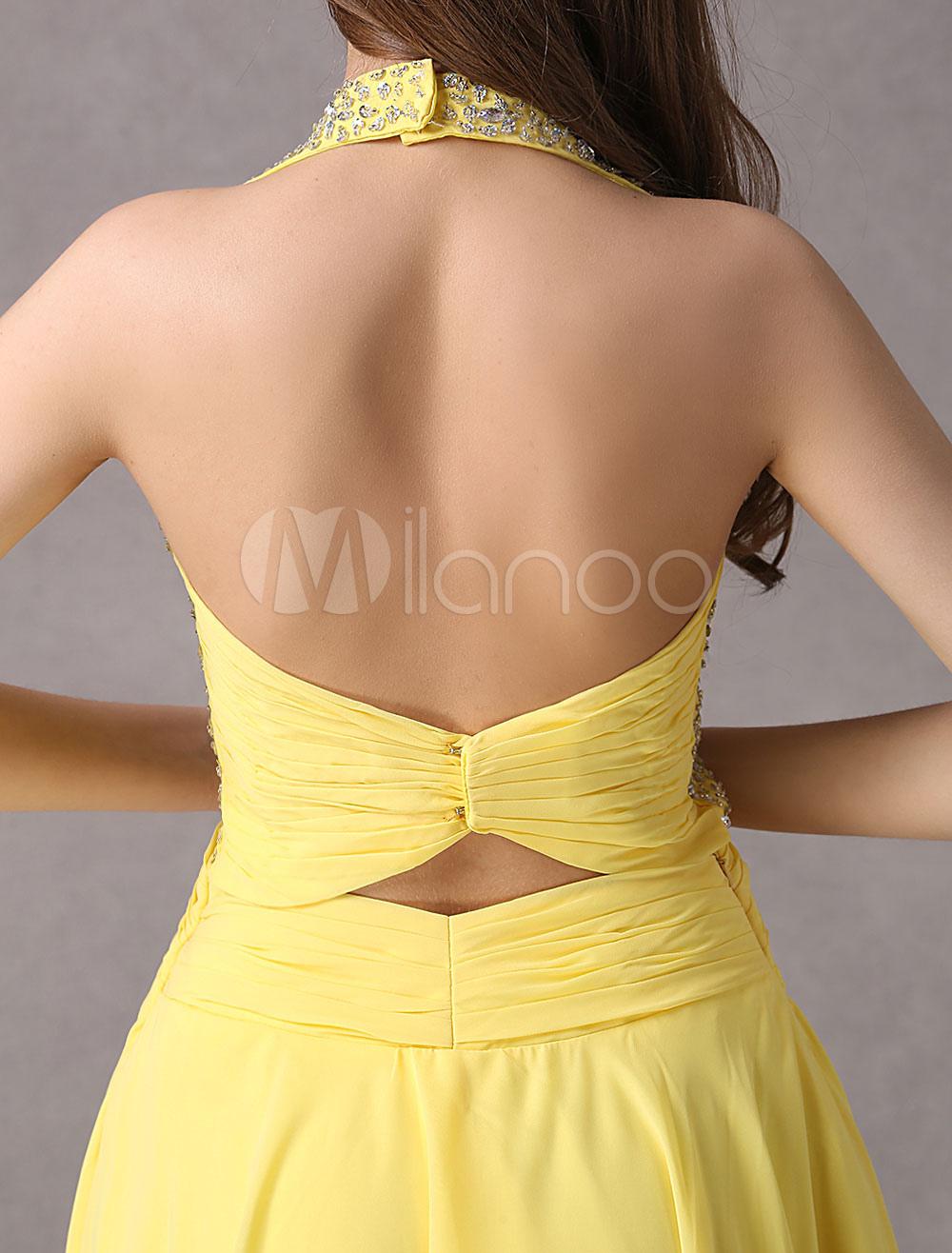 Gelb Homecoming Kleid mit V-Ausschnitt Halfter Friesen ...