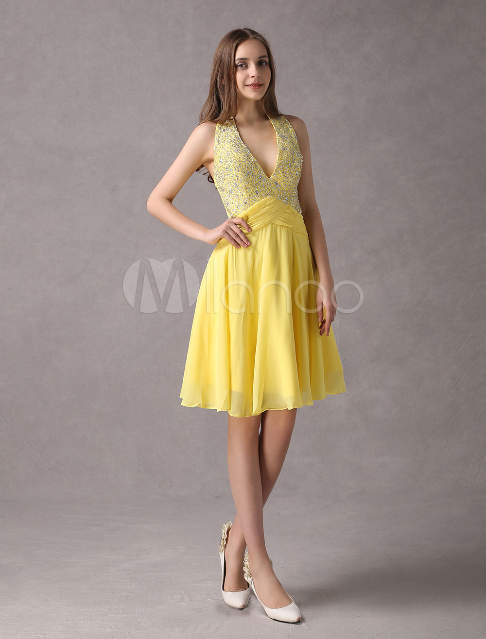 Yellow Homecoming Dress V Neck Halter Beading Chiffon Short Prom ...