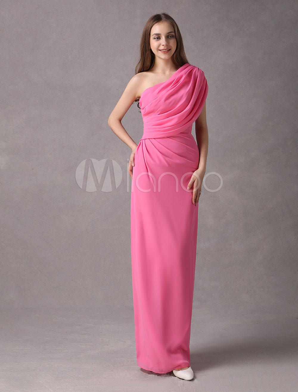8bdb0e78f Vestido de damas de honor de chifón con escote a un solo hombro hasta el  tobillo ...