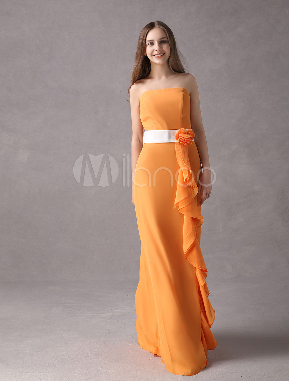 Buy Strapless Cascading Ruffle Chiffon Orange Charming Bridesmaid Dress for $111.59 in Milanoo store