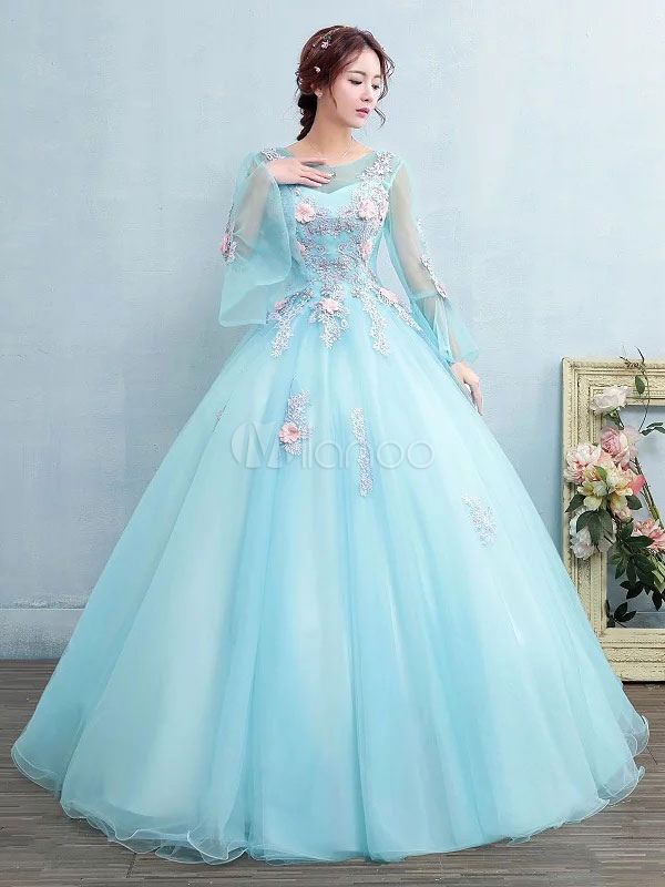 6026d82676 Aqua Quinceanera Dress Tulle Princess Pageant Dress Applique Pearl Flower  Long Sleeve Floor Length Prom Dress ...
