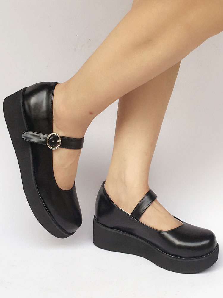 Buy Platform Lolita Pumps Shoes Ankle Strap Black Wedge Shoes for $68.99 in Milanoo store