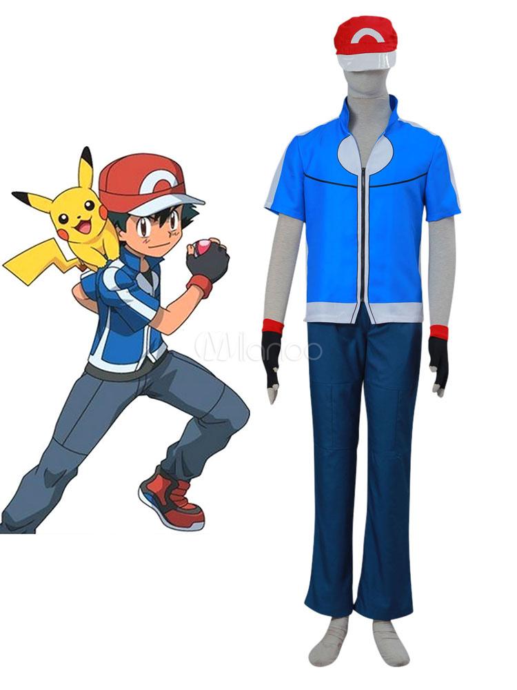 ultime tendenze godere del prezzo più basso autentico Pokemon Ash Ketchum set blu Anime Giapponese uomo cotone poliestere  top&cappello&pantaloni&guanti