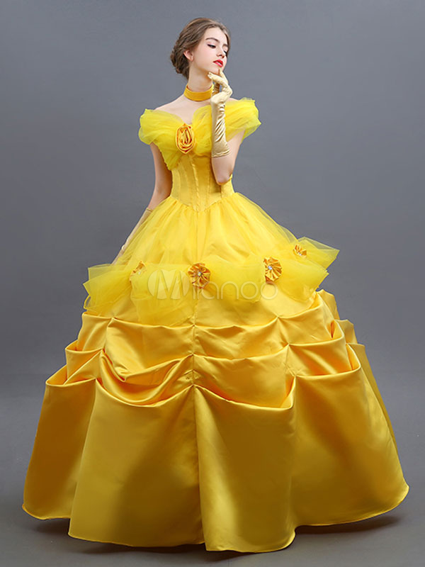 Beauty And The Beast Costume 2018 Belle Cosplay Ball Gown Dress Outfit Halloween