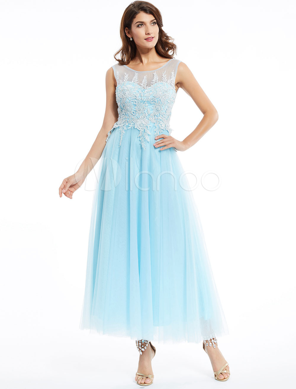 Prom Kleider lange Spitze Chiffon Pastell blau ärmellose Applique ...